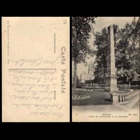 Carte postale 18 - Bourges - Jardin de l'eveche et la cathedrale