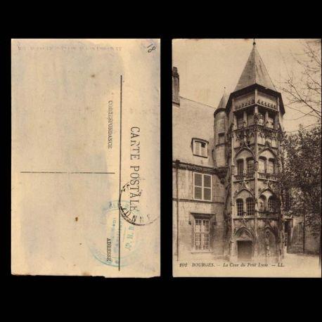 Carte postale 18 - Bourges - La cour du petit lycee