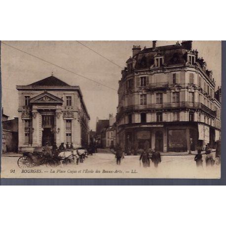 Carte postale 18 - Bourges - La place Cujas et l'ecole des Beaux-Arts - Voyage - Dos divis...