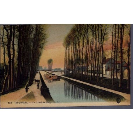 Carte postale 18 - Bourges - Le canal de Berry - Voyage - Dos divise...