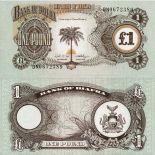 Sammlung von Banknoten Biafra Pick Nummer 5 - 1 Livre 1968
