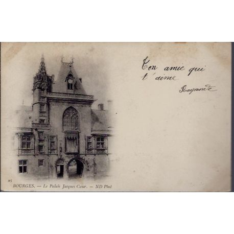 Carte postale 18 - Bourges - Le Palais Jacques Coeur - Voyage - Dos non divise...