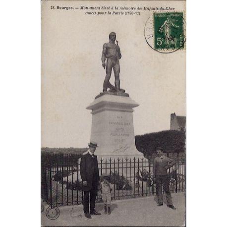 Carte postale 18 - Bourges - Monument eleve a la memoire des enfants du Cher morts pour la...