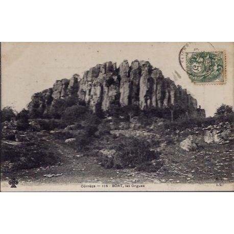 Carte postale 19 - Bort - Les Orgues - Voyage - Dos divise...
