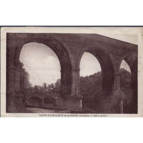 Carte postale 19 - Saint-Pantaleon-de-Larche - Les 2 ponts - Voyage - Dos divise...