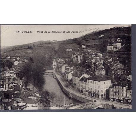 Carte postale 19 - Tulle - Pont de la Bascule et les quais - Non voyage - Dos divise...