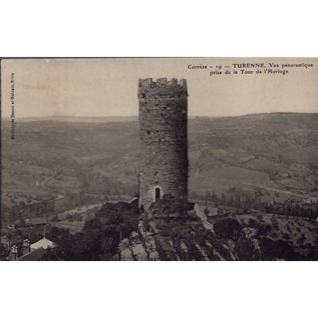 19 - Turenne - Vue panoramique prise de la Tour de l' Horloge - Voyage - Dos...
