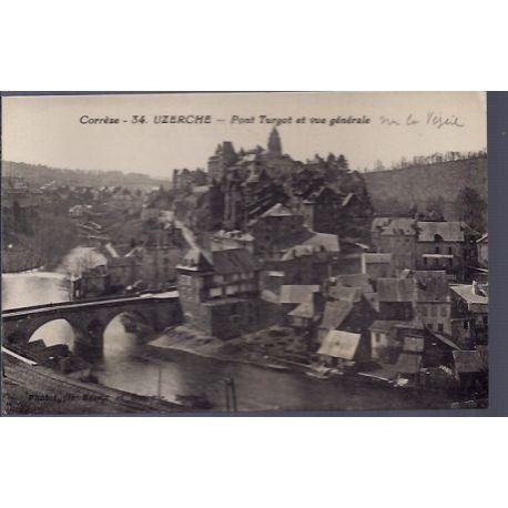 Carte postale 19 -Uzerche - Pont Turgot et vue generale sur la vezere - Non voyage - Dos d...