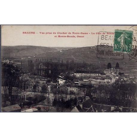 Carte postale 21 - Beaune - Vue prise du clocher de Notre-Dame - la cote de Beaune et Mon...