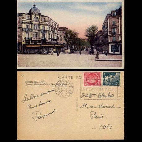 Carte postale 21 - Dijon - Avenue Marechal Foch et rue de la gare