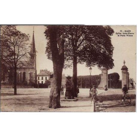 Carte postale 21 - Dijon - Eglise Sain-Pierre et Porte Wilson - Non voyage - Dos divise