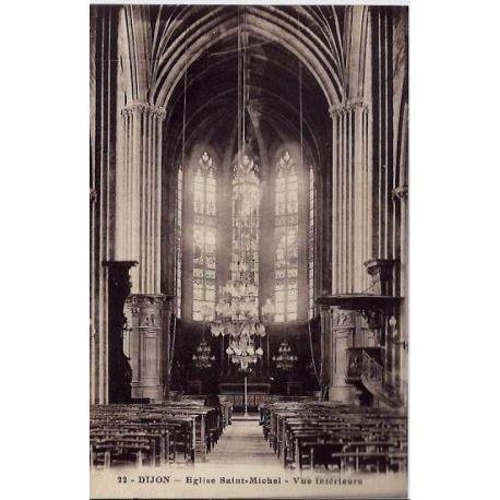 Carte postale 21 - Dijon - Eglise Saint-Michel - Vue interieure - Non voyage - Dos divise
