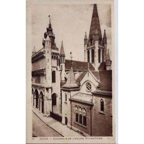 Carte postale 21 - Dijon - Ensemble de l'eglise Notre-Dame - Non voyage - Dos divise