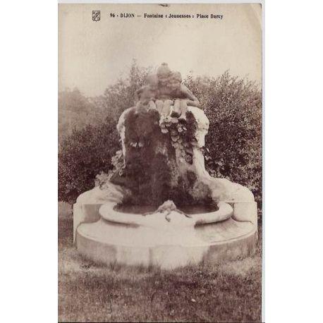 """Carte postale 21 - Dijon - Fontaine jeunesse"""" Place Darcy - Non voyage - Dos divise"""""""""""""""