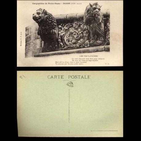 Carte postale 21 - Dijon - Gargouilles de Notre dame - Les Faux-Freres