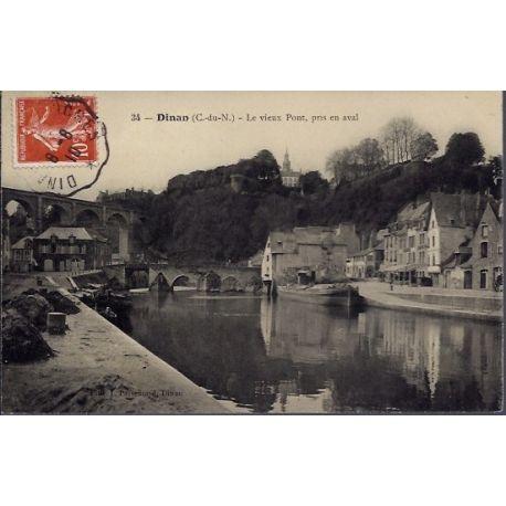 22 - Dinan - Le vieux pont, pris en aval - Voyage - Dos divise...