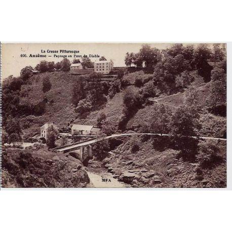 Carte postale 23 -- Anzeme - La creuse pittoresque - Paysage au pont du diable - Voyage - Do