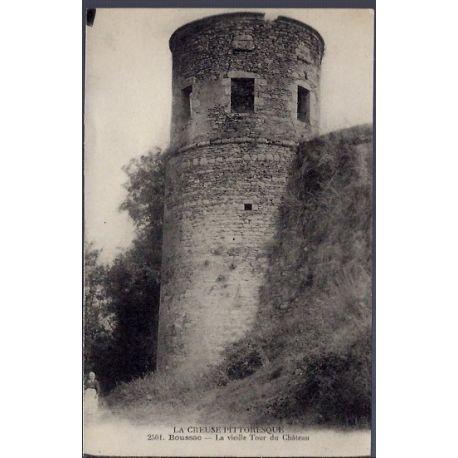Carte postale 23 - Boussac - La vieille Tour du chateau - Voyage - Dos divise...