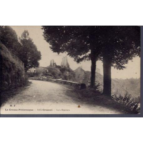 Carte postale 23 - Crozant - les ruines - Non voyage - Dos divise...