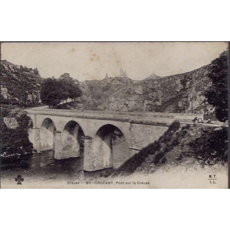 Carte postale 23 - Crozant - Pont sur le Creuse - Non voyage - Dos non divise...