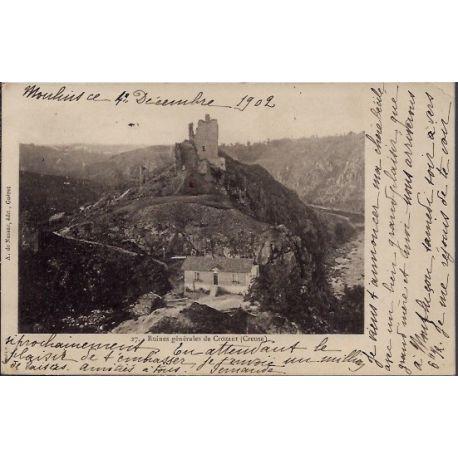Carte postale 23 - Crozant - Ruines generales de Crozant - Voyage - Dos non divise...