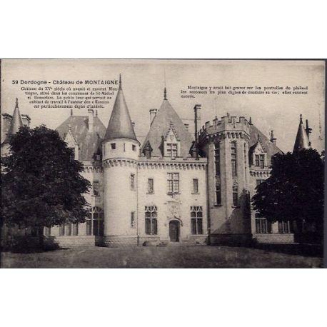 24 - Dordogne - Chateau de Montaigne - Non voyage - Dos divise...