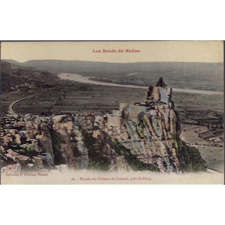 Carte postale 26 - Pres St-Peray - Ruines du chateau de Crussol - Non voyage - Dos divise...