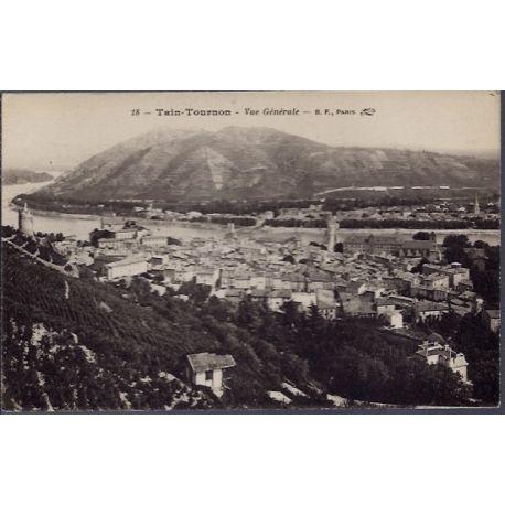 Carte postale 26 - Tain-Tournon - Vue generale - Voyage - Dos divise...