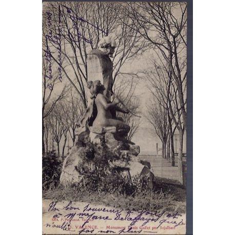 Carte postale 26 - Valence - Monument Louis Gallet - Voyage - Dos divise...