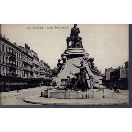Carte postale 26 - Valence - Statue Emile Augier - Non voyage - Dos divise...