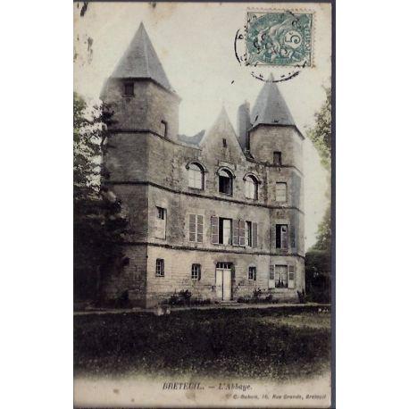 Carte postale 27 - Breteuil - L 'Abbaye - Voyage - Dos divise...