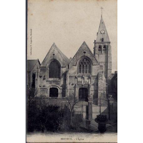 Carte postale 27 - Breteuil - L 'eglise - Non voyage - Dos divise...