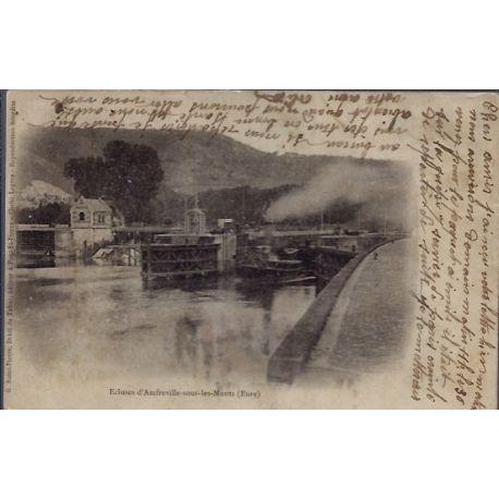 Carte postale 27 - Ecluses d' Amfreville-sous-les-Monts - Voyage - Dos non divise...