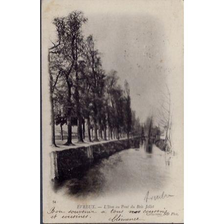 Carte postale 27 - Evreux - L' Iton au pont du bois Jollet - Voyage - Dos non divise...