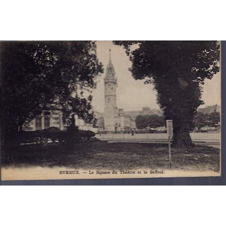 Carte postale 27 - Evreux - le square du theatre et le Beffroi - Voyage - Dos divise...