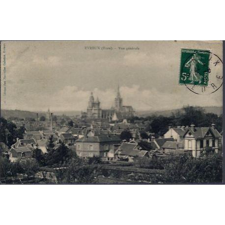 Carte postale 27 - Evreux - Vue generale - Voyage - Dos divise...