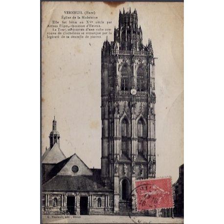 Carte postale 27 - Verneuil - Eglise de la Madeleine - Voyage - Dos divise...