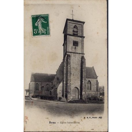 Carte postale 28 - Brou - Eglise Saint-Lubin - Voyage - Dos divise...