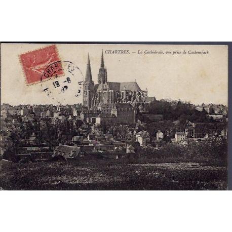 Carte postale 28 - Chartres - La Cathedrale, vue prise de Cachemback - Voyage - Dos divis...