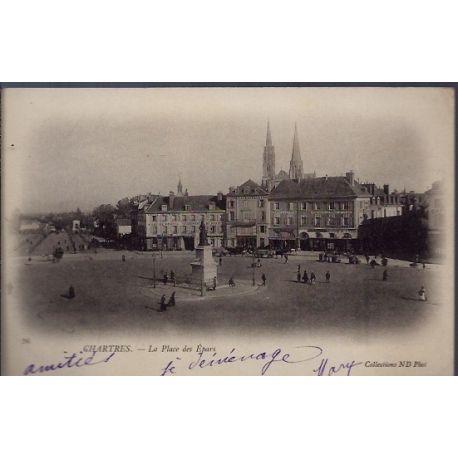 Carte postale 28 - Chartres - La place des Epars - Voyage - Dos non divise...