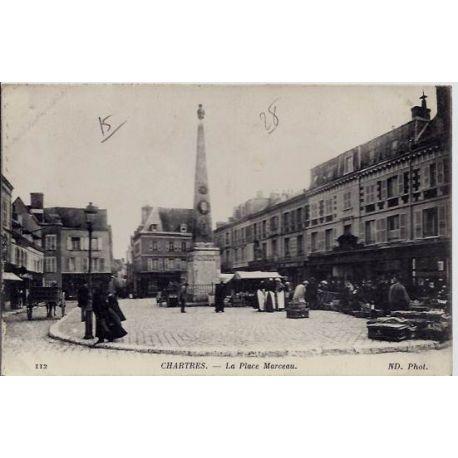 Carte postale 28 - Chartres - La place Marceau - Voyage - Dos divise