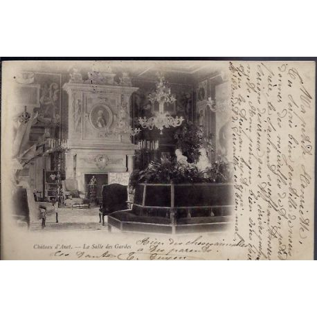 Carte postale 28 - Chateau d' Anet - La salle des Gardes - Voyage - Dos non divise...