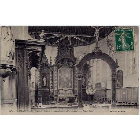 Carte postale 28 - Courville - Sanctuaire de l'eglise - Voyage - Dos divise