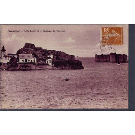 Carte postale 29 - Carantec - L' Ile Loua«t et le chateau du Taureau - Voyage - Dos divis...