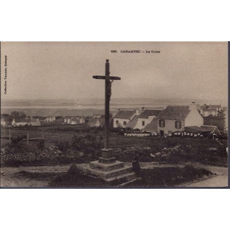 Carte postale 29 - Carantec - La croix - Non voyage - Dos divise...