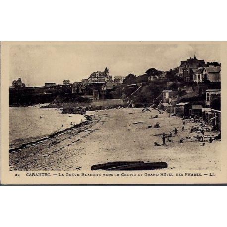 Carte postale 29 - Carantec - La greve Blanche vers le Celtic et Grand Hotel des phares -...