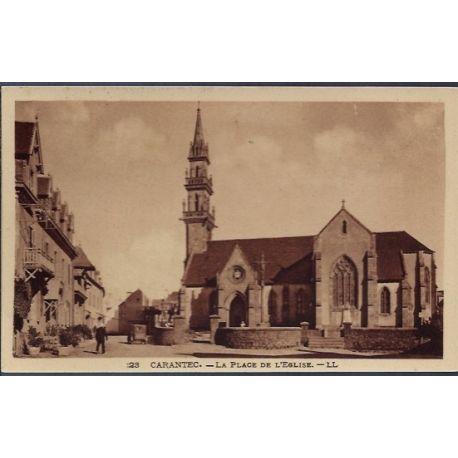 Carte postale 29 - Carantec - La plage de l' eglise - Non voyage - Dos divise...