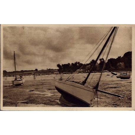 Carte postale 29 - Carantec - La plage du Kelenn a maree basse - Voyage - Dos divise...