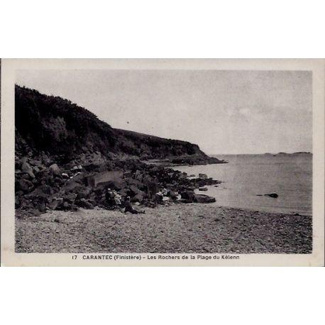 Carte postale 29 - Carantec - Les rochers de la plage du Kelenn - Non voyage - Dos divise...