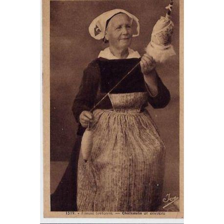 Carte postale 29 - Chateaulin et environs - Fileuse bretonne - Non voyage - Dos divise